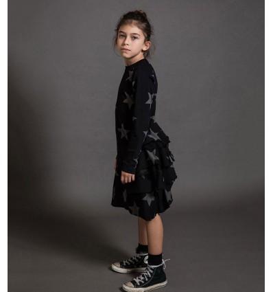 star layered dress black