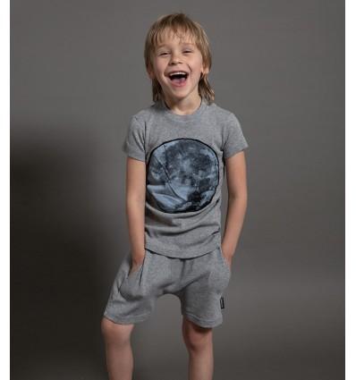 full moon t-shirt and baggy shorts grey