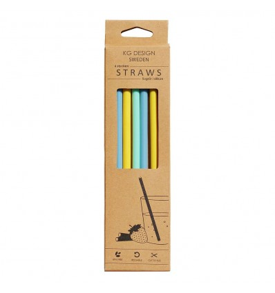 silicone drinking straws (set of  6 + cleaning brush)