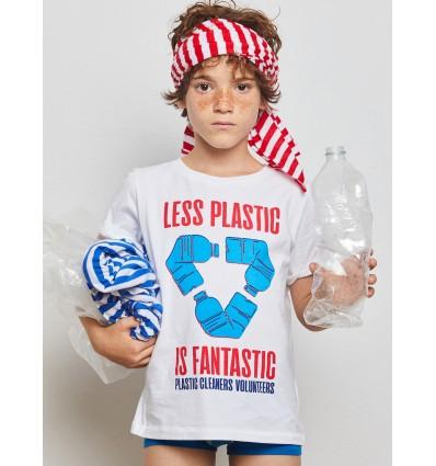 camiseta less plastic con mochila
