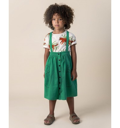 mango green skirt with suspenders