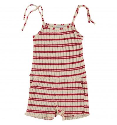knit suit red stripes