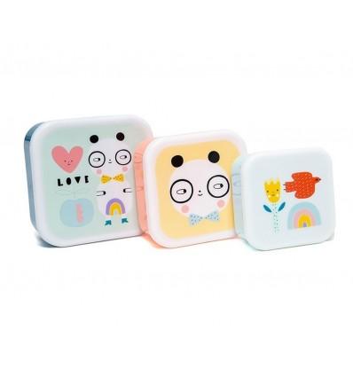 3 cajitas almuerzo panda