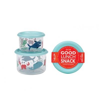 set 2 cajas almuerzo pequeñas océano