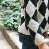 dark grey diamond knitted jumper
