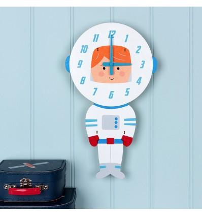 Reloj pared madera astronauta