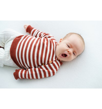 knitted baby sweater earth stripes