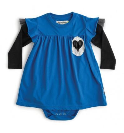 vestido body bebé azul corazón