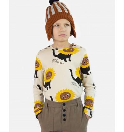 Camiseta orgánica gato girasol
