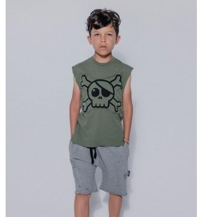 skull sleveless shirt army