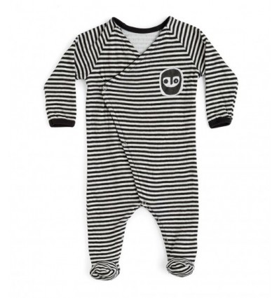 mask stripped footed newborn overall