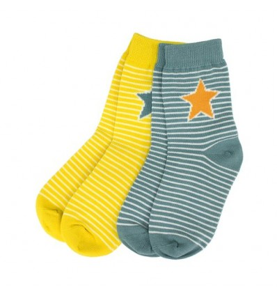 set 2 calcetines algodón amarillo gris