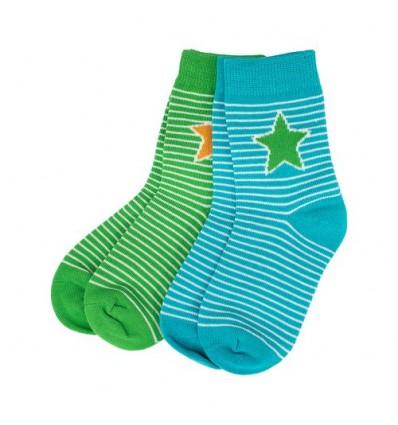set 2 calcetines algodón azul verde