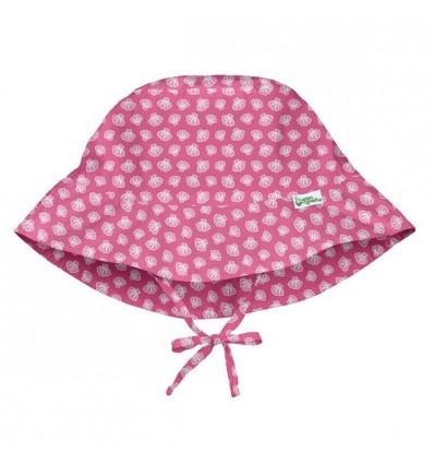 gorro solar con protección rosa conchas