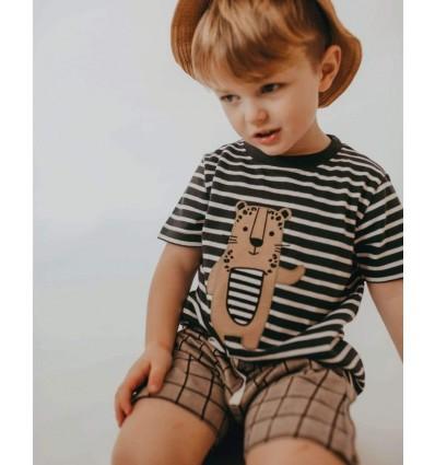 stripe leopard aplique baby t-shirt