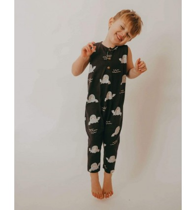 seal sleveless dungarees