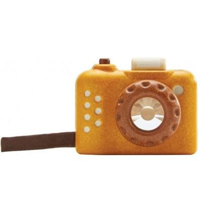 cámara de fotos de madera mostaza
