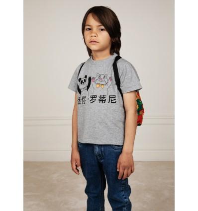 camiseta gato y panda gris