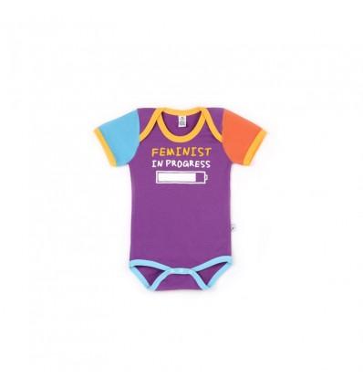 baby bodysuit feminist in progress short sleeve