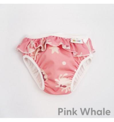 swim diaper pink whale frills