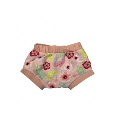 Bañador pañal bebé rosa hawaii