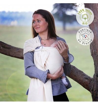 Portabebé bandolera elástica algodón orgánico natural
