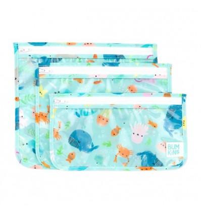clear travel bag 3-pack ocean