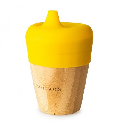 Small bamboo cup with sippy feeder