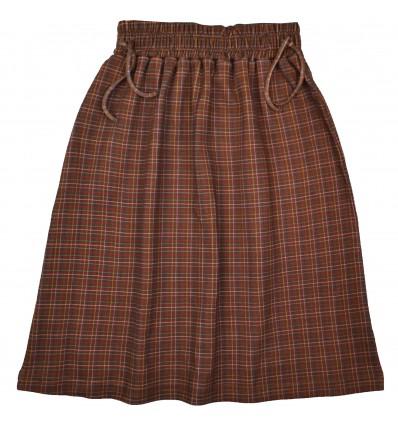checked long skirt