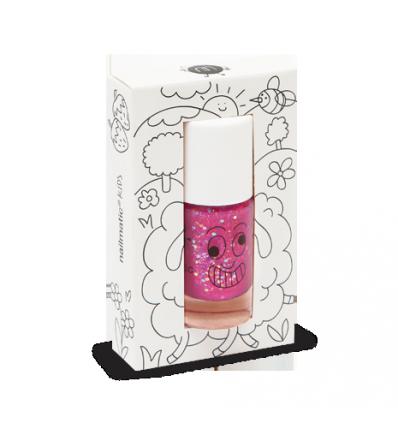 Sheepy - Clear Raspberry Glitter Nail Polish